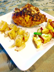 Roasted Chicken, Potatoes and Onions with Thyme and Henzelium with a warm, grilled Zuchini, Summer Squash & Pickled Radish Salad in a Bacon-Dijon Vinaigrette!